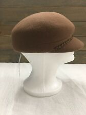 New Womens Nine West Camel Braid Chain Wool Newsboy Ball Cap Short Bill Hat