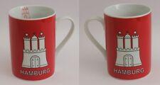 Hamburg Becher rot mit Hamburger Wappen Kaffeebecher Kaffeetasse Kaffee Pott