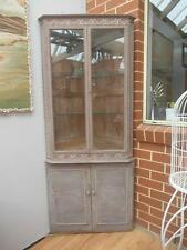 GORGEOUS Vintage TIMBER Corner DISPLAY Cabinet LOCKABLE Carved FEATURES Adelaide