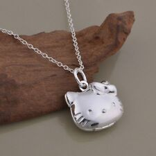 USA Seller 925 Sterling Silver Hello Kitty  Locket Pendant Necklace!
