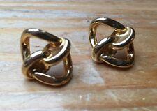 Vintage Oro Tono Pendientes Nudo/Postes/Twist diseño/estilo Retro/1970's/80's