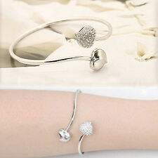 1X New Bangle Double Heart-shaped Open Style Bangle Bracelet Jewelry CA