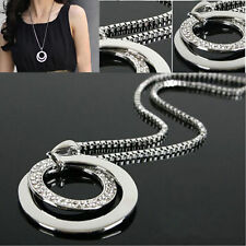 Fashion Girls Silver Crystal Rhinestone Pendant  Necklace Long Sweater Chain