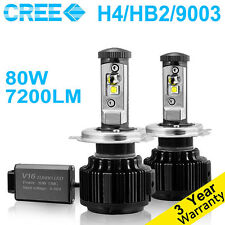 7200LM Cree LED Headlight Kit H4 9003 HB2 Hi/Low Beams 6000K Bulbs Pair 80WA