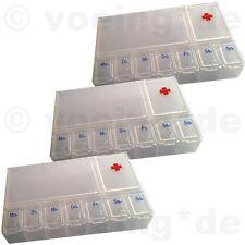 3x Medikamenten-Dosierer Pillendose Tablettendose Tablettenbox mit 7 Tageansicht