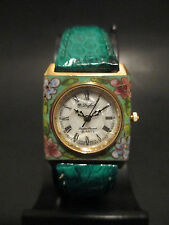 B38 Rare Dufonte by Lucien Piccard Lady Square Genuine Leather Band Dress Watch
