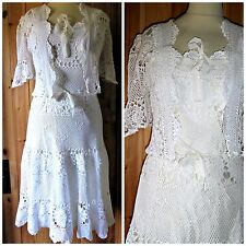 VINTAGE ANNI 70 Bohemien Crochet Lace Dress & Giacca UK 12 14 stile hippy / boho WEDDING