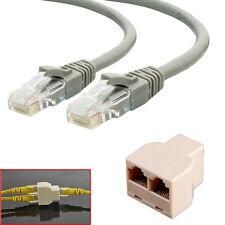 2Pcs 5m RJ45 Cat5e Ethernet Network Patch Cable + 1x 3 Port Y Splitter Coupler