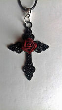 Gothic Adjustable Black Waxed cord Choker necklace Large Black cross *red rose*