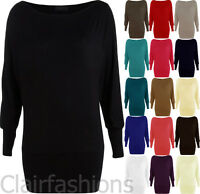 New Womens Batwing Basic Long Sleeve Ladies Plain Stretch T-Shirt Tunic Top 8-14
