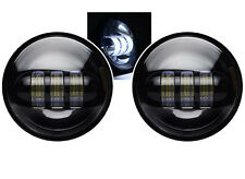 """4-1/2"""" Black LED Auxiliary Spot Fog Passing Lights Lamps Pair Harley Motorcycle"""