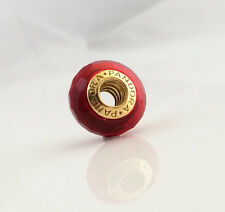 New Pandora Murano Ruby Red Glass Charm 24K Heavy Gold Plated 791066 Authentic