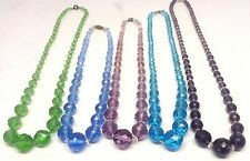 Vintage Art Deco Lot of Faceted Crystal & Glass Bead Necklaces, Amethyst Blue #2