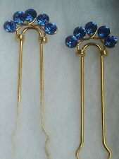 VINTAGE SAPPHIRE SWAROVSKI CRYSTALS GOLD PLATED HAIR PIN 4 HANDMADE