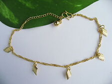 18K Yellow Gold Plated Polished Small Bell Thin Piece Rhombus Charm Anklets Gift