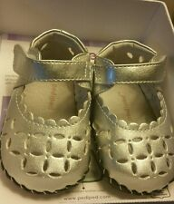 pediped baby girl Katelyn metallic silver size 0-6months . First shoes