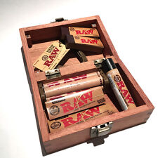 RAW ROLLING PAPER ROSEWOOD BOX+PAPERS+TIPS+WICK+LIGHTER+ROLLING MACHINE