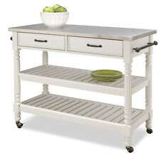 Contemporary White Antique Rolling Wood Kitchen Island Stainless Steel Top Cart