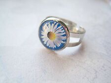 Amarillo Blanco Cristal Azul Daisy Domed ajustable Ring Regalo SP Floral Flor