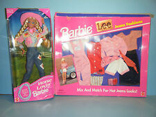 1996 HORSE LOVIN BARBIE & 1995 BARBIE LEE JEANS FASHION GIFT SET  *NEW*