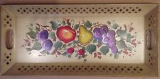 Vintage Reticulated Tolepaint Hand Painted Fruit Nashco Metal Tray
