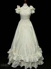 Vintage Wedding Dress 1980s Victorian Belle Ivory Satin Beaded 10 R542