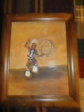 vintage wood framed painting Native American traditional dance