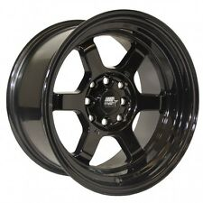 MST Wheels Time Attack Rims 15x8 4x100 +0 Offset Stepped Lip Black