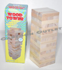 WOOD TOWER 48 PIECES GAME KIDS TOY STACK MINI TOWER BIRTHDAY GIFT BOYS GIRLS
