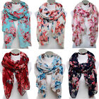Women Long Voile Soft Floral Flower Neck Wrap Beach Scarf Stole Shawl Scarves
