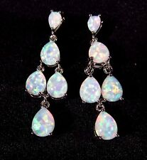 Sterling 925 Silver SF Post Earrings 8*6mm & 6*4mm White Lab Fire Opal Cabachon