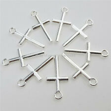 12895 100PCS Alloy Silver Color Religious Mini Cross Pendant Charms
