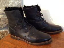 Black Leather Lace Up Ankle Boots RABBIT FUR LINED Women's 8.5 B CANADA $156