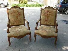 DIVINE PAIR FRENCH LOUIS 14TH STYLE BERGERE CHAIRS PETIT POINT NEEDLEPOINT SEATS