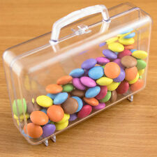 6x Suitcase Shaped Fillable Transparent Plastic Container gift wedding favours