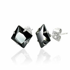 Men's Stainless Steel 5mm Square Black CZ Stone Set Stud Earrings by Urban Male