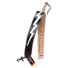 Genuine Fender 2.5-Inch Leather Lightning Bolt Guitar Strap, Black - #0990613006