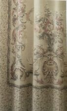 Croscill Normandy Scroll Tapestry Natural Fabric Shower Curtain Tan Blue Rose