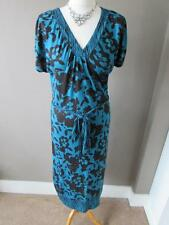 MONSOON Ladies Turquoise Blue Black Floral Print Jersey Midi Belt Dress Size 10