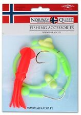 NORWAY QUEST OCTOPUSS-DOPPELHAKEN-SYSTEM FLUO/ROT  1 St. 66cm mit Rassel / Rotor