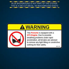 GT3 Engine Warning No Bra Self Adhesive Sticker Decal 911 turbo