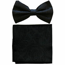New formal men's pre tied Bow tie & hankie set paisley pattern black wedding