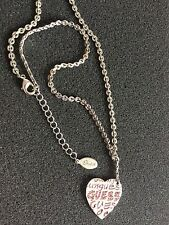 Guess Jewelry Necklace Pendant Heart Charm Adjustable Pink Stones