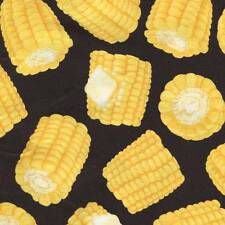 FOOD CORN ON THE COB ON BLACK Cotton Fabric BTY for Quilting, Craft Etc