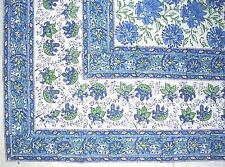 """Lotus Flower Block Print Floral Square Cotton Tablecloth 60"""" x 60"""" Blue"""