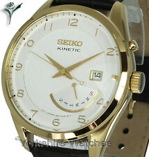 New SEIKO KINETIC WHITE FACE GOLD Day Date With LEATHER BUCKLE STRAP SRN052P1