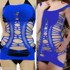 Women Cover Up Blue Clubwear Net Seamless Tube Cut Out Tight Hole Mini Dress XL