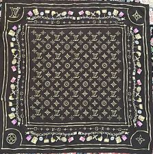 Authentic Louis Vuitton Silk Scarf With Logo And Charms Print