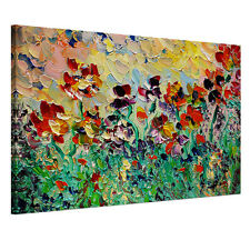 Canvas Print Wall Art Split Painting-Abstract Beautiful Watercolor Flower FRAMED