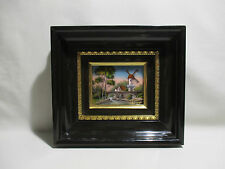 ANCIEN CADRE TABLEAU EMAUX LIMOGES A GRAFEUIL MOULIN PAYSAGE ENAMELS ALTE EMAIL